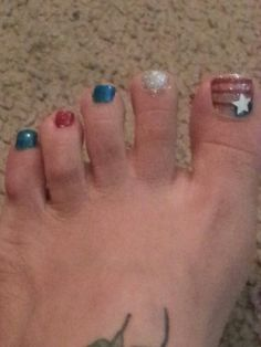 DIY Pedi 2! #Fourth Of July #Red White && Blue #Toes