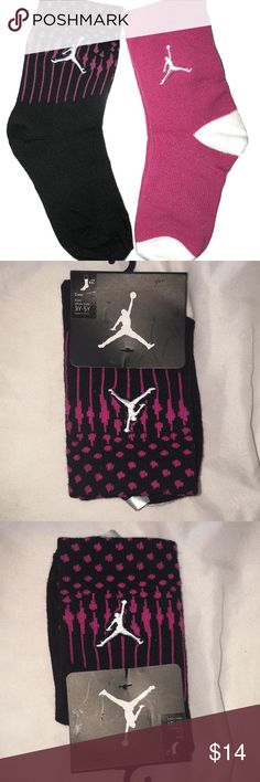 NWT Michael's Jordan 2 Pr Pink & Black Crew Socks NWT Michael's Jordan 2 Pr Pink & Black Crew Socks. Both pairs have the Michael Jordan logo. Checkout my other listings and add to a bundle to save! Jordan Accessories Socks & Tights