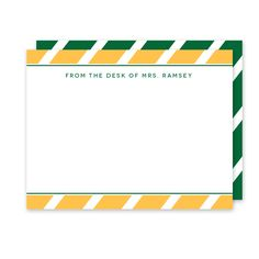School Colors (Gold/Green) Teacher Stationery (Note Card) - The bold angled stripe pattern in your school colors combined with a classic font makes this personalized/custom stationery the perfect gift for any teacher or school staff member with their name or monogram.