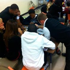 Mentors and students at work