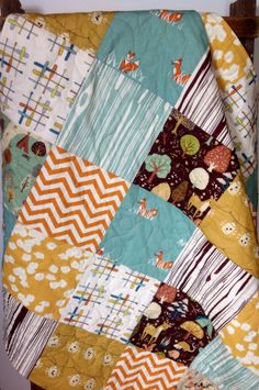 Patchwork Baby Quilt, Organic, Gender Neutral, Woodland Theme, Modern Quilt, Fox, Camping, Birch Fabric, Brown, Orange, Blue-Green