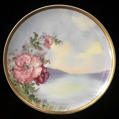 Antique Havilland Limoges Painted Porcelain Plate Signed Berton by JigsandLarry on Etsy Painted Porcelain, Fine Porcelain, Hand Painted, China Painting, Plates And Bowls, Modern Glass, Weird And Wonderful, Or Antique, Art Pictures
