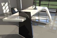 Artificial Marble Stone Executive Office Desk Furniture with White Color Office Table Tops for Sale Modern Office Table, Office Table Design, Office Furniture Design, Office Interior Design, Office Interiors, Table Tops For Sale, Architecture 3d, Counter Design, Bureau Design