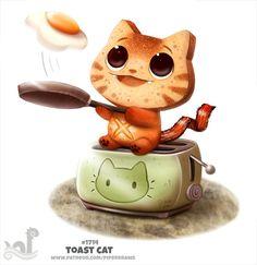 Котик готовит яичницу!