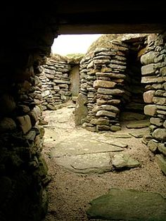 "Passageway, Skara Brae, Orkney Islands. Skara Brae is a stone-built Neolithic settlement consisting of eight clustered houses, and was occupied from roughly 3180 BEC - 2500 BCE. Older than Stonehenge and the Great Pyramids, it has been called the ""Scottish Pompeii"" because of its excellent preservation."