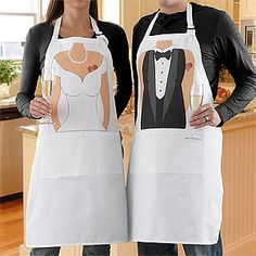 "Mr. & Mrs. Personalized Wedding Apron Set - what a cute Wedding Gift or Bridal Shower Gift! The set is only $39.95 and you can personalize the ""tattoos"" with any name or nickname! #Wedding #Apron #Anniversary"
