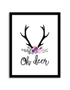 Download and print this Oh Deer Floral free printable wall art for your home or office!