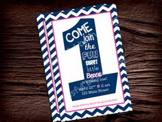 FIRST BIRTHDAY INVITATION Navy and Pink by BlissfulBethDesigns