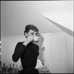 Audrey photographed by Earl Theisen in her flat on Wilshire Blvd. that she rented during the shooting of Sabrina, Los Angeles, California, 1953.