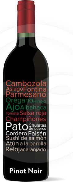 Vocabulario de comidas. Pinot Noir #Maridaje #Vino #Gourmet #Comida