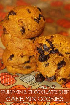 Pumpkin Chocolate Chip Cake Mix Cookies - my favorite fall treat made ...