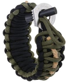 paracord bracelet with fire starter and hidden sharp eye knife (colour: army green, black with jute cord) by The Friendly Swede