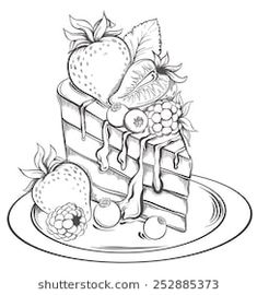 Hand drawn slice of Cake with icing and Berry. Hand drawn slice of Cake with icing and Berry. Candy Coloring Pages, Barbie Coloring Pages, Free Adult Coloring Pages, Cute Coloring Pages, Coloring Books, Cake Drawing, Food Drawing, Sweet Drawings, Easy Drawings