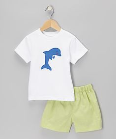 Take a look at this Betti Terrell White Dolphin Tee & Lime Gingham Shorts - Toddler & Boys on zulily today!