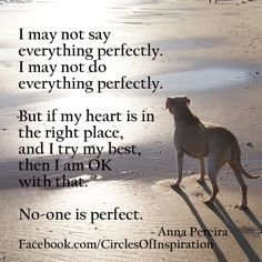 No one is perfect, but if your heart is in the right place and you try your best at everything- You're amazing.