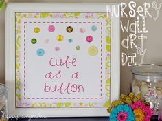 DIY Button Craft: DIY Cute as a Button Wall Art