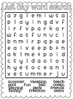 Classroom Freebies: Last Day Word Search