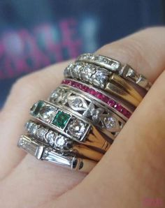 Love a good band stack! Vintage and antique diamond and gemstone wedding bands, all from Doyle & Doyle. I Love Jewelry, Art Deco Jewelry, Jewelry Rings, Fine Jewelry, Jewelry Design, Antique Rings, Vintage Rings, Antique Jewelry, Vintage Jewelry