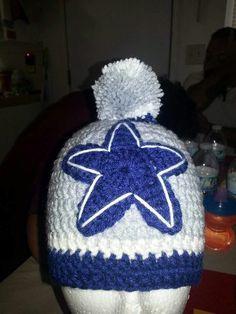 Dallas cowboys crochet beanie/pompom