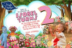 Personalised  Party Invitations or thank you cards  In The Night Garden X8