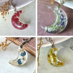 Exquisite Resin Necklaces Fuse Cosmos and Earth with Pressed Flowers in Crescent Moons - My Modern Met