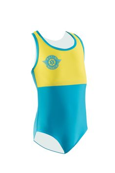 One Piece Swimsuits Girl - Yellow/Sky Blue