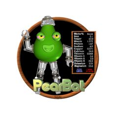 Valxart's PearBot is one of many funny FUDEBOTS by Valxart.com that remind us to know what we eat and eat healthy . We are what we eat !   For Nutritional data for foods you eat, see  USDA Nutritional info   www.cnpp.usda.gov/Resources.htm