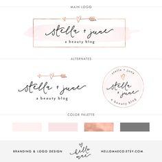 Rose Gold Logo Design, Branding Package, Business Logo, Premade Logo, Heart Logo,  Pink Watercolor Logo, Arrow Logo, Rose Gold Branding