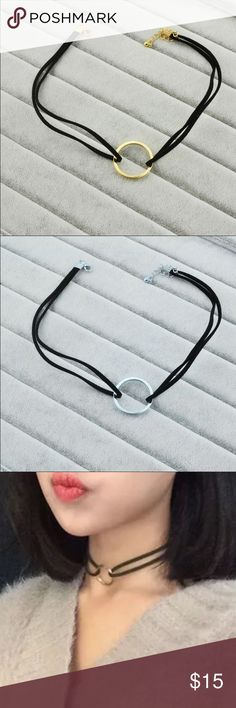 Leather ring choker Available in gold and silver colors Jewelry Necklaces