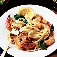 Shrimp Florentine Pasta from Cooking Light...delicious!  Even my husband like it :-) Very quick and easy too...shrimp, spinich, and pasta (I used Dreamfeilds linguine)