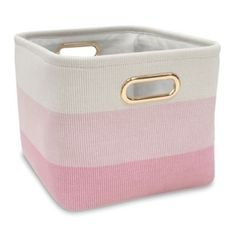 Lambs & Ivy   Ombre Storage Basket In Pink/gold - As pretty as it is practical, the Ombre Storage Basket lets you clean up household clutter in style. Showcasing a chic stripe design, this lightweight basket features a sturdy construction and built-in carry handles for easy transport. Pink Storage Bins, Large Plastic Storage Bins, Kids Storage, Cube Storage, Storage Baskets, Plastic Baskets, Kitchen Storage, Do It Yourself Organization, Gold Bed