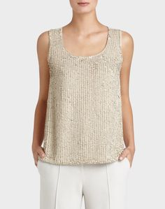 HOLIDAY GIFT GUIDE FOR THE STYLISH WOMAN - Lafayette 148 NY's Italian Suede Sequined Front Cleo Blouse