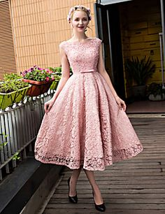 Cocktail Party Dress A-line Scoop Tea-length Lace / Tulle with Beading / Bow(s) / Lace / Pearl Detailing / Sequins – USD $ 285.00