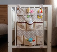 Baby Crib Diy, Baby Cribs, Baby Room Design, Baby Room Decor, Baby Sewing Projects, Sewing For Kids, Baby Storage, Diy Bebe, Hanging Storage
