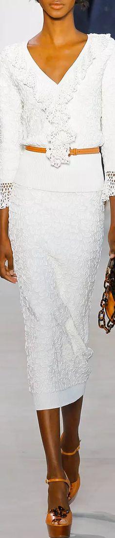 Michael Kors Soutache-Embroidered Midi Skirt, White