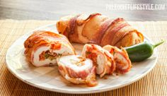 Bacon-Wrapped Salsa Stuffed Chicken - and I think I would add some kind of cheese, just to make it more decadent... Monterey Jack likely!