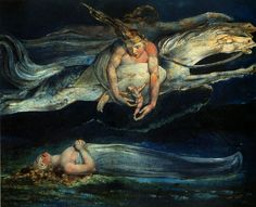 Stunning. William Blake - Pity - 1795 I saw a series of this paintings in the Tate. The room was black so as not to compromise the paint. They paintings glowed!