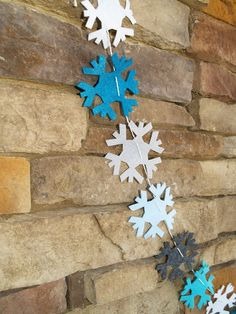 Felt Snowflake Garland Bunting in Blues and Grays