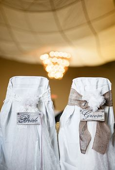Rustic bride and groom wedding chairs