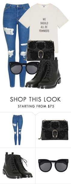 """""""Sem título #2287"""" by mariandradde ❤ liked on Polyvore featuring Topshop, Gucci, Yves Saint Laurent and STELLA McCARTNEY"""
