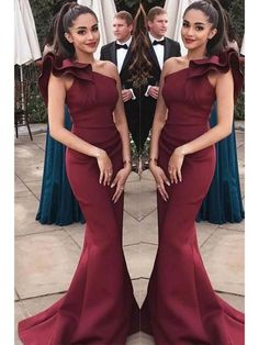New Arrival One Shoulder Burgundy Mermaid Long Formal Prom Dress Evening Party Dresses Formal Prom, Formal Evening Dresses, Evening Gowns, Evening Party, Dress Formal, Mermaid Prom Dresses, Homecoming Dresses, Wedding Dresses, Party Dresses
