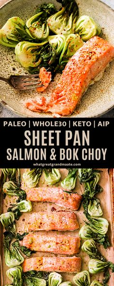 Prepare an unforgettable seafood dish that will satisfy your tastebuds with this Sheet Pan Salmon & Bok Choy recipe. You can have a flavorful meal made in the oven without all the mess! It's paleo, Whole30, keto, and AIP friendly. #sheetpandinner #sheetpanmeal #paleo #whole30 #keto #aip #glutenfree #dairyfreeketo Paleo Recipes Easy, Whole 30 Recipes, Fish Recipes, Seafood Recipes, Salmon Recipes, Dinner Recipes, Salmon And Bok Choy, Bok Choy Recipes, Salmon Seasoning