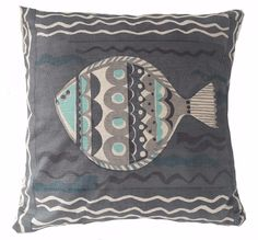 Add some coastal style to your home with this hand printed fish cushion, inspired by the Cornish coast and made in the UK. Christmas Gift Guide, Christmas Gifts, Fish Handprint, Printed Cushions, Coastal Style, Thoughtful Gifts, Textiles, Throw Pillows, Handmade Gifts