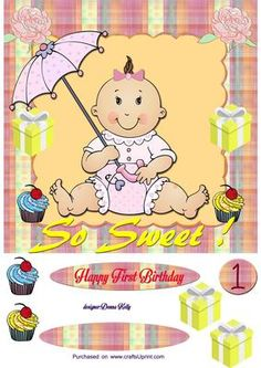 Girls first birthday on Craftsuprint designed by Donna Kelly - cute, colourful baby girls first birthday card, Approx. 7x7, include decoupage and three tags, one blank - Now available for download!