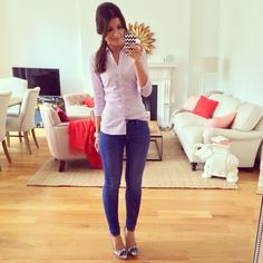 Button down shirt, skinny jeans, cute outfit  Find us on facebook at https://www.facebook.com/JNLondon