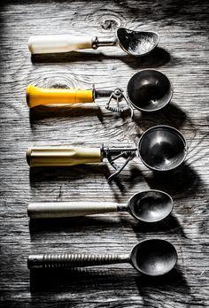 Light and Shadow on Metal - Kelly Neil Vintage Cutlery, Vintage Bowls, Vintage Tea, Ice Cream Scooper, Ice Cream Spoon, Cream Decor, Gelato Shop, Food Photography Props, Vintage Ice Cream