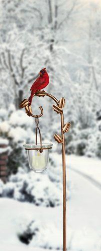 Holiday Cardinal, Votive Holder with Stake Garden Stake,Metal and Glass,5x32 Inches by Ashley. $29.99 Glass Votive Holders, Glass Candle, Garden Stakes, Garden Structures, Winter Months, Garden Landscaping, Gardening, Candles, Landscape