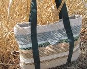 "Statement Bag Personal Handbag Purse Tote Shoulder Bag, Artisan Handwoven Cotton Recycled Rag ""Marsh Grass"" Fashion Accessory"