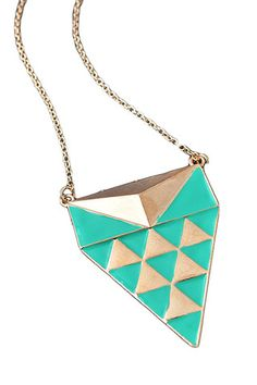Green Aztec Necklace - $17.00    http://ecloset.ca/collections/accessories/products/green-aztec-necklace