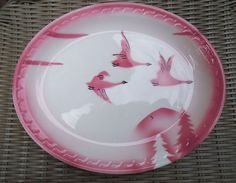 Syracuse China Restaurant Milwaukee Railroad Plate Platter Pink Goose Traveler
